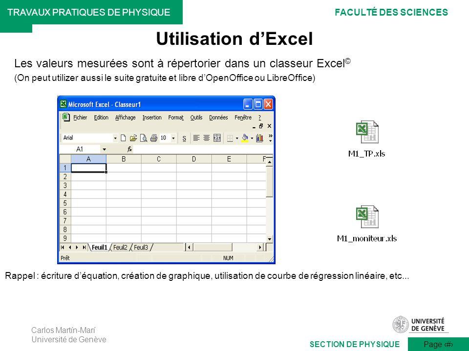 Utilisation d'Excel Les valeurs mesurées sont à répertorier dans un classeur Excel©