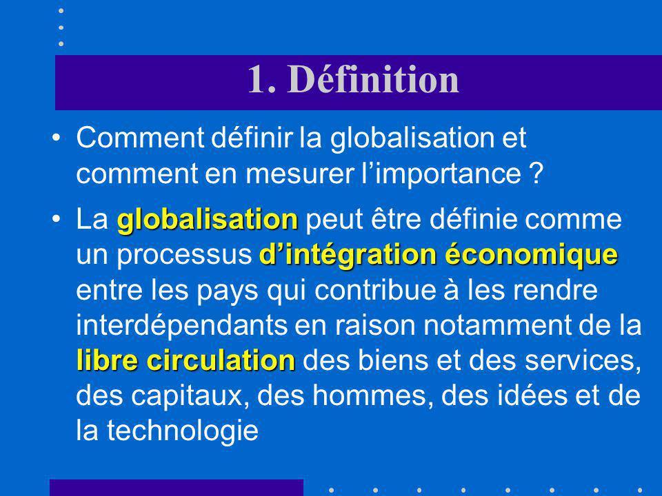 1. Définition Comment définir la globalisation et comment en mesurer l'importance