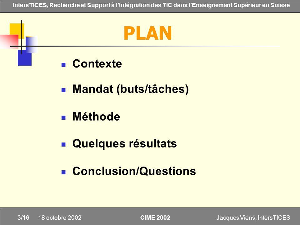 PLAN Contexte Mandat (buts/tâches) Méthode Quelques résultats
