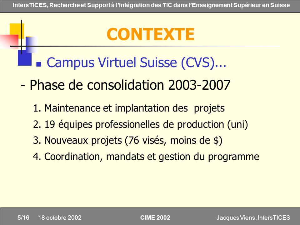 CONTEXTE Campus Virtuel Suisse (CVS)...