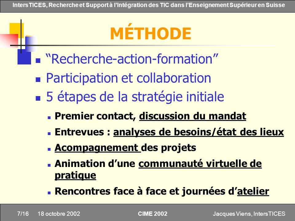 MÉTHODE Recherche-action-formation Participation et collaboration