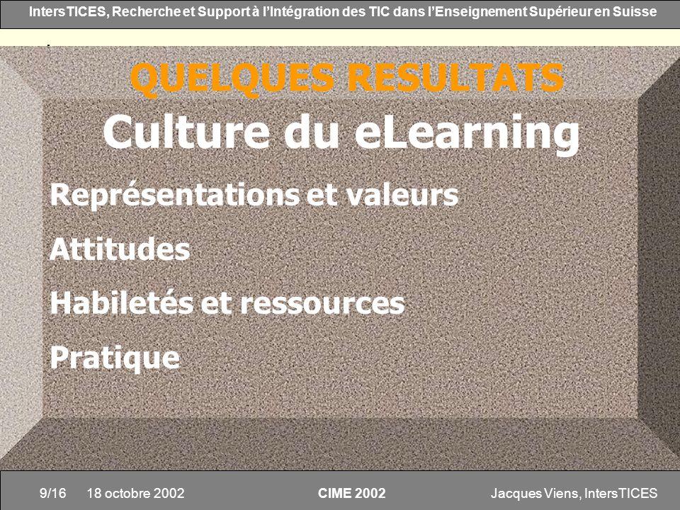 Culture du eLearning QUELQUES RESULTATS Représentations et valeurs