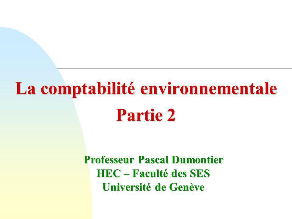 La comptabilité environnementale Partie 2
