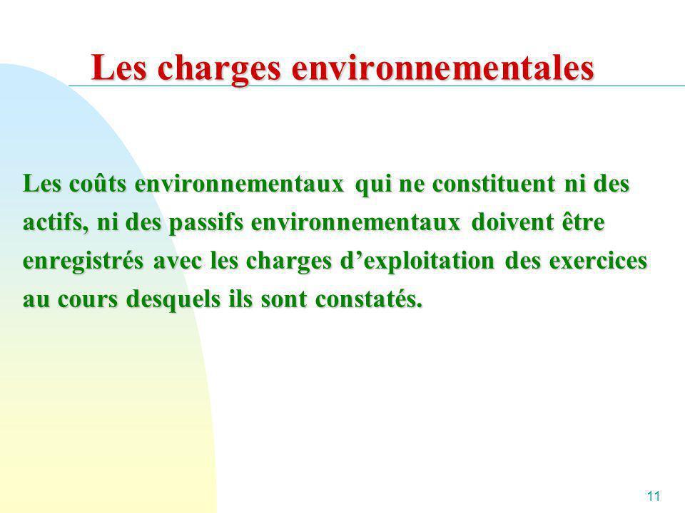 Les charges environnementales