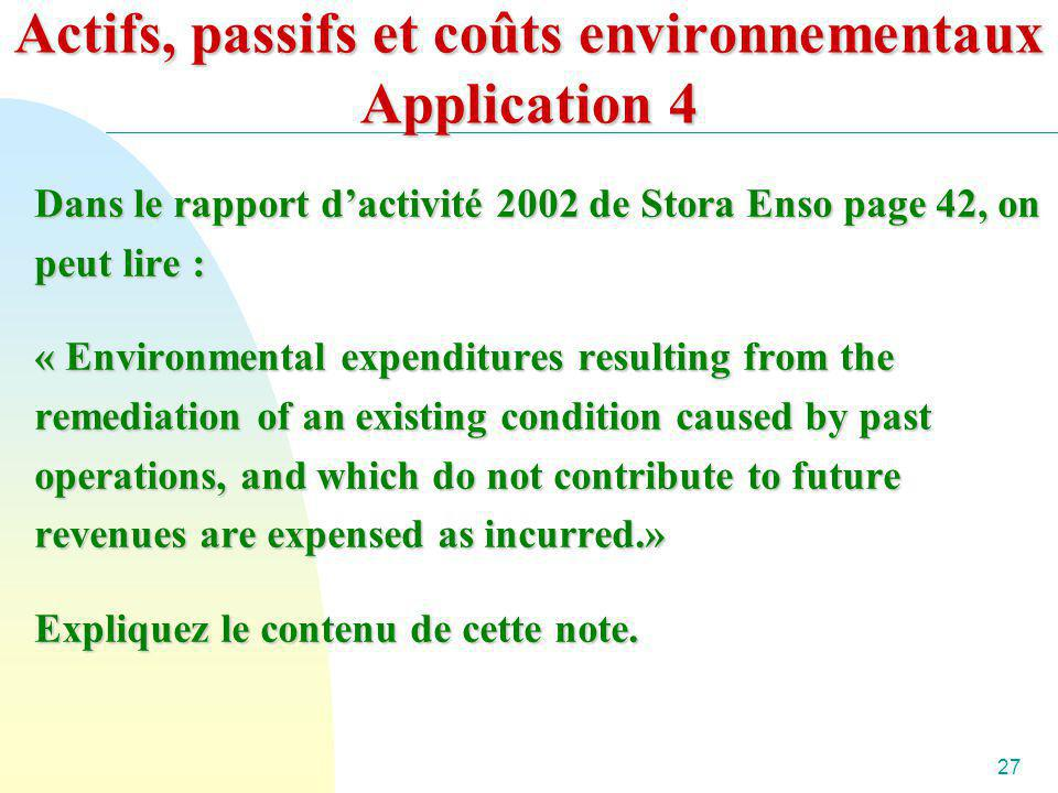 Actifs, passifs et coûts environnementaux Application 4