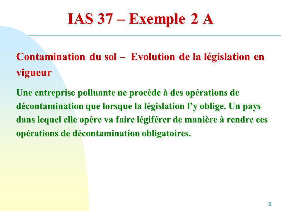 IAS 37 – Exemple 2 A Contamination du sol – Evolution de la législation en vigueur.