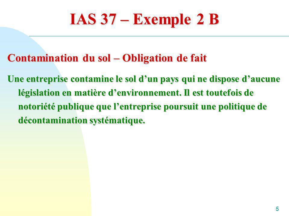 IAS 37 – Exemple 2 B Contamination du sol – Obligation de fait