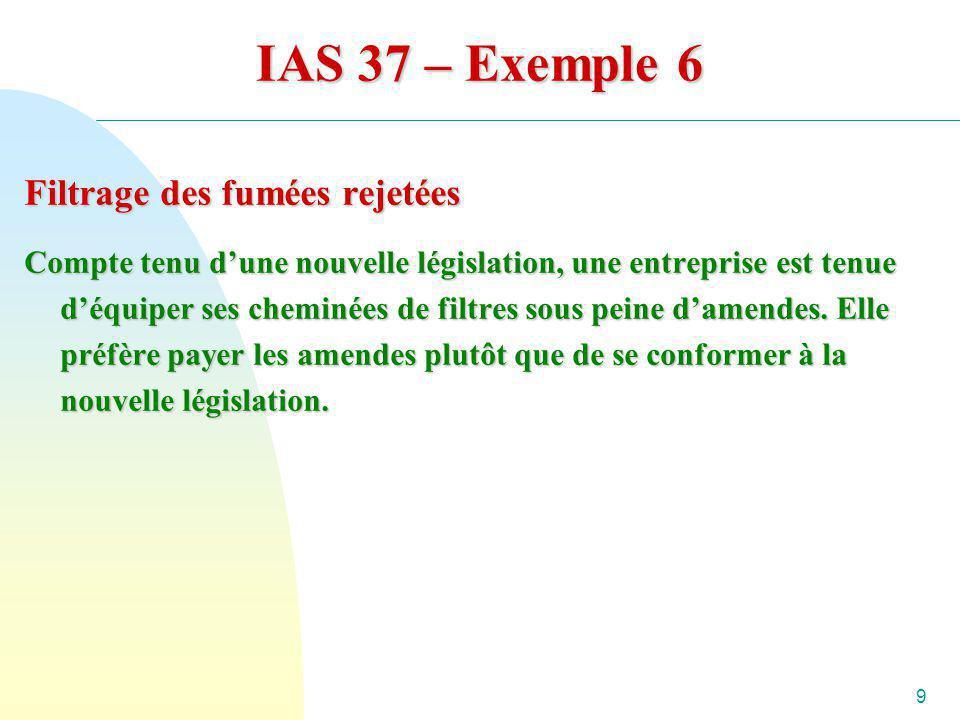 IAS 37 – Exemple 6 Filtrage des fumées rejetées