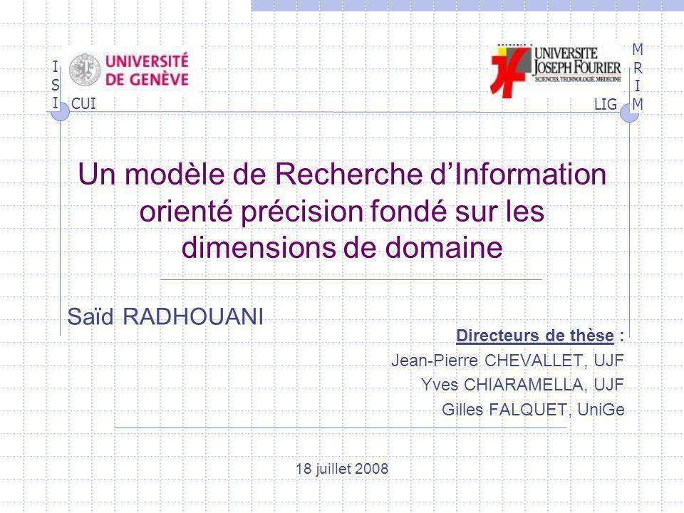 Un modèle de Recherche d'Information orienté précision fondé sur les dimensions de domaine
