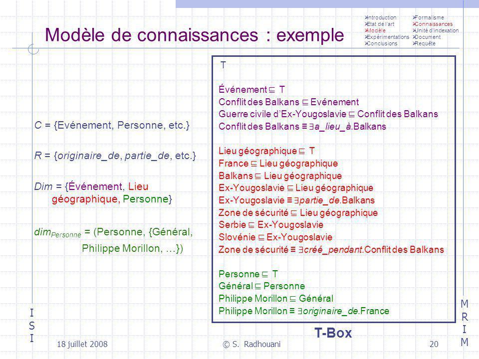 Modèle de connaissances : exemple