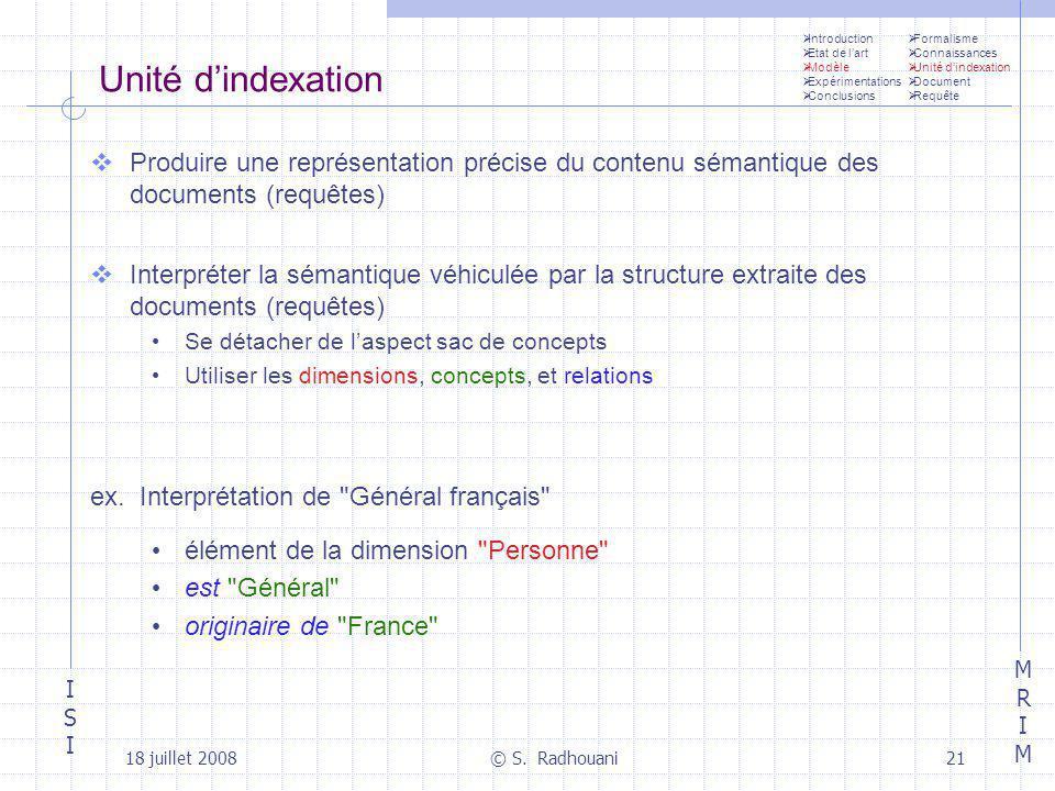 Introduction Etat de l'art. Modèle. Expérimentations. Conclusions. Formalisme. Connaissances. Unité d'indexation.