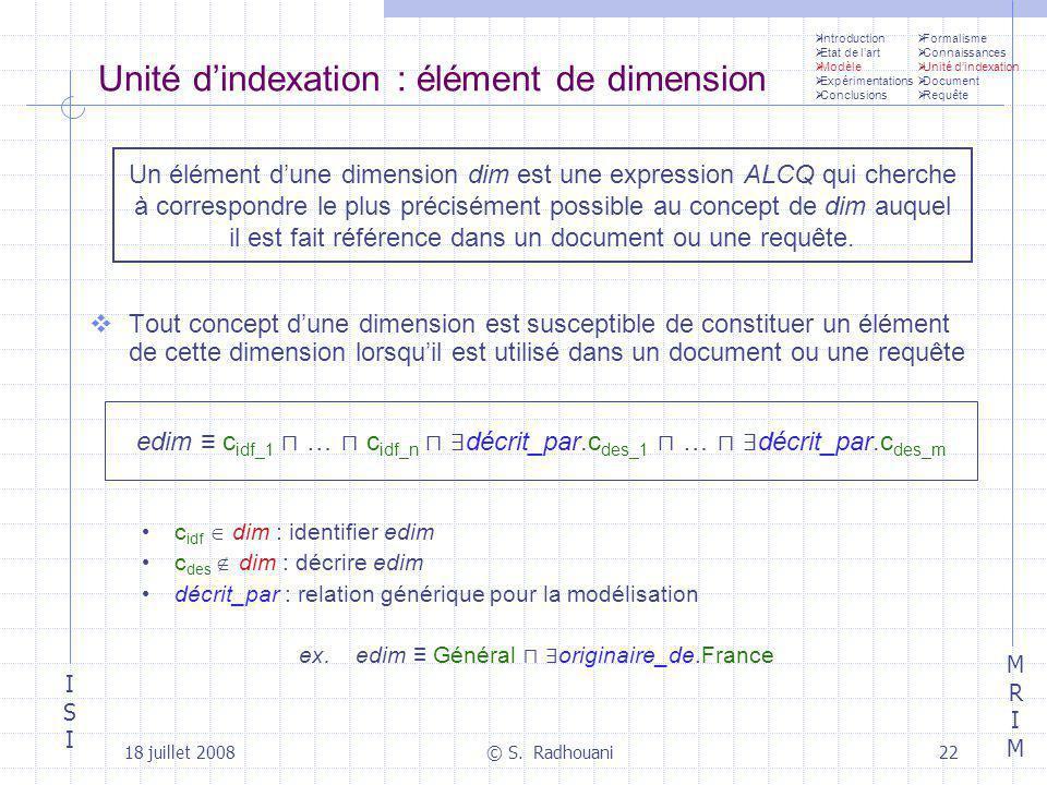 Unité d'indexation : élément de dimension