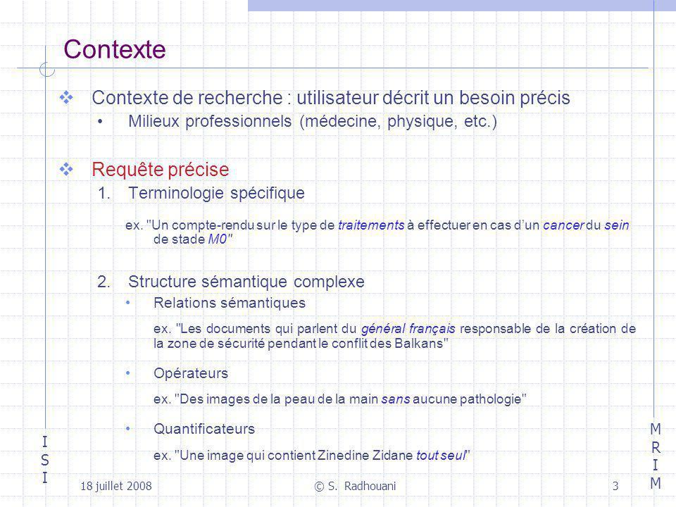 Contexte Contexte de recherche : utilisateur décrit un besoin précis