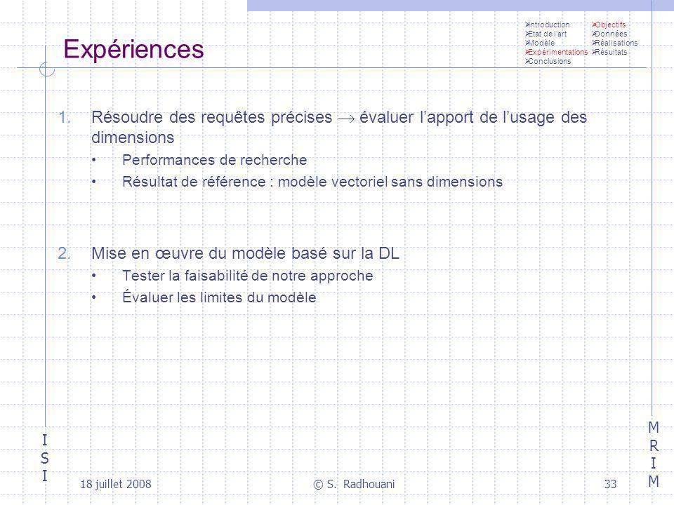 Introduction Etat de l'art. Modèle. Expérimentations. Conclusions. Objectifs. Données. Réalisations.