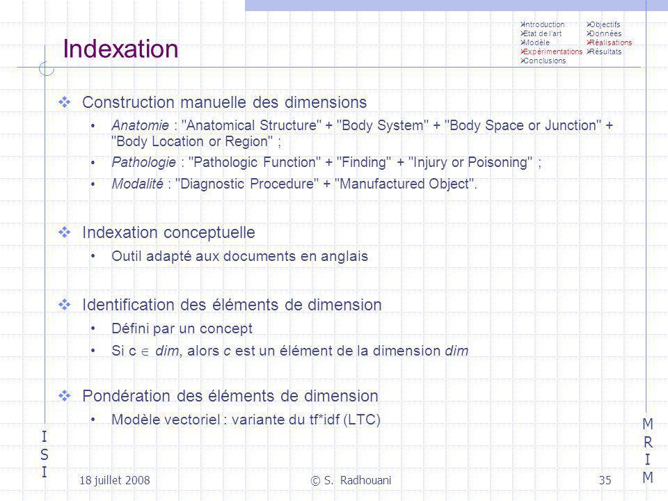 Indexation Construction manuelle des dimensions