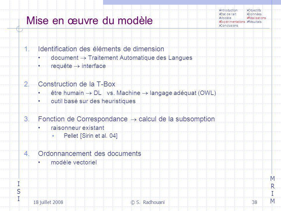Mise en œuvre du modèle Identification des éléments de dimension