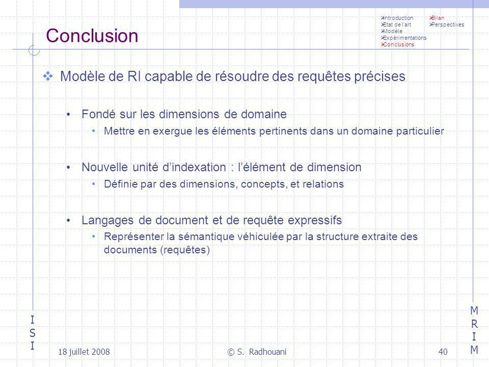 Conclusion Modèle de RI capable de résoudre des requêtes précises
