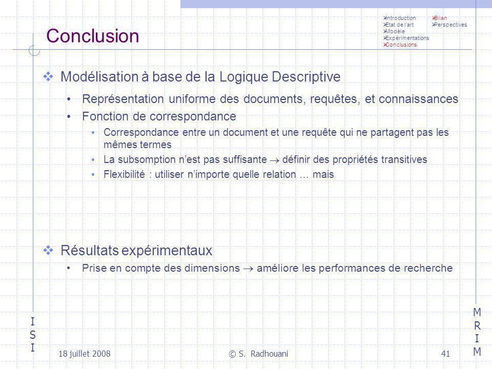 Conclusion Modélisation à base de la Logique Descriptive