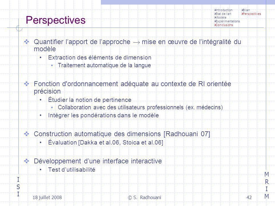 Introduction Etat de l'art. Modèle. Expérimentations. Conclusions. Bilan. Perspectives. Perspectives.