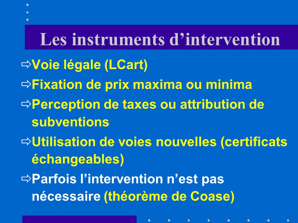 Les instruments d'intervention