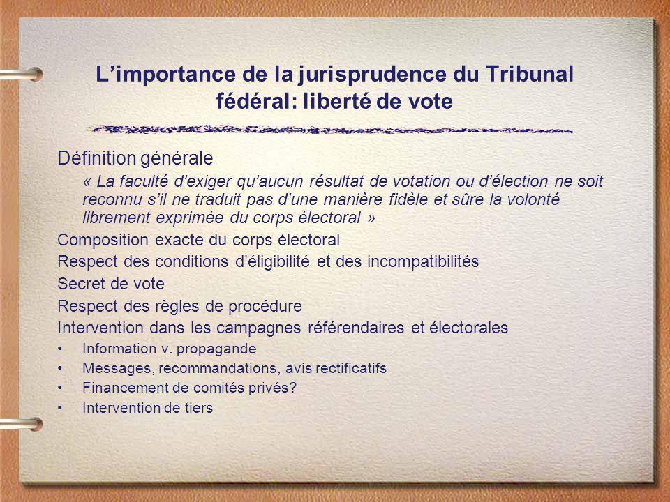 L'importance de la jurisprudence du Tribunal fédéral: liberté de vote