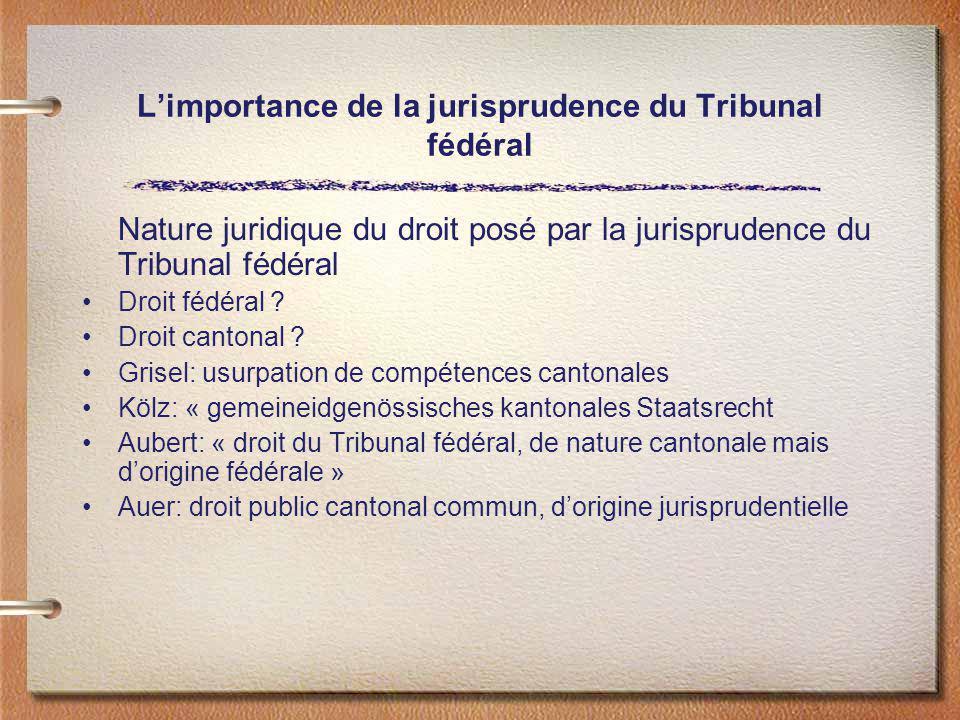 L'importance de la jurisprudence du Tribunal fédéral