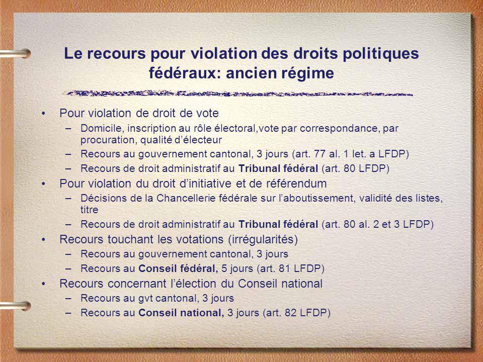 Le recours pour violation des droits politiques fédéraux: ancien régime
