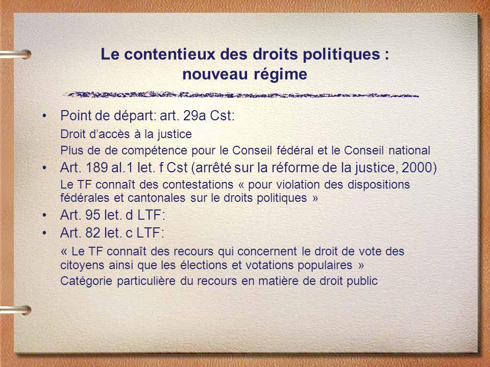 Le contentieux des droits politiques : nouveau régime