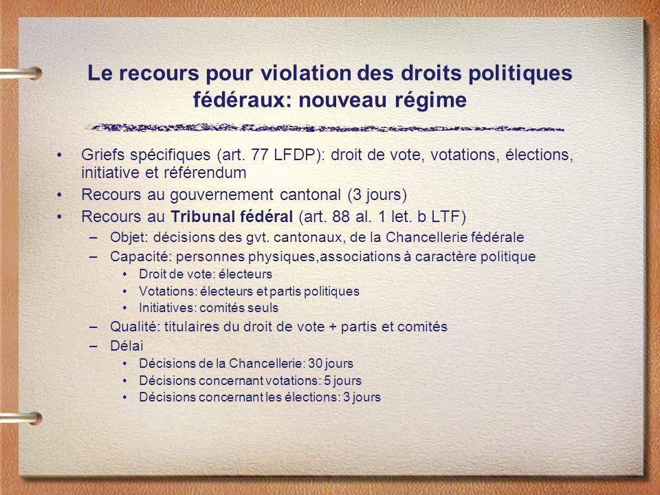 Le recours pour violation des droits politiques fédéraux: nouveau régime