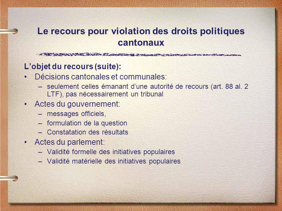 Le recours pour violation des droits politiques cantonaux