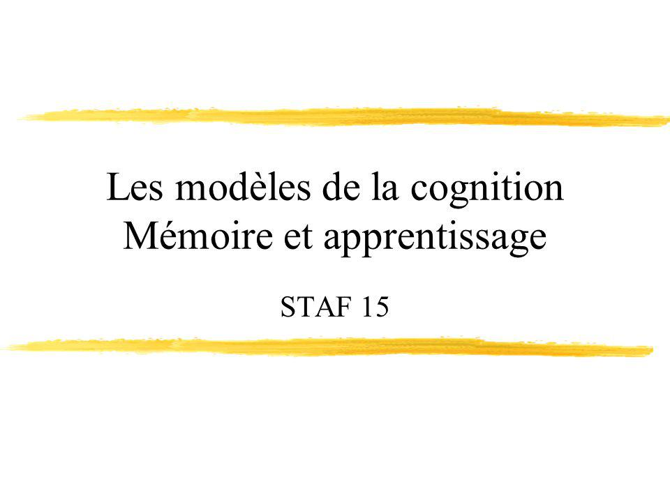 Les modèles de la cognition Mémoire et apprentissage