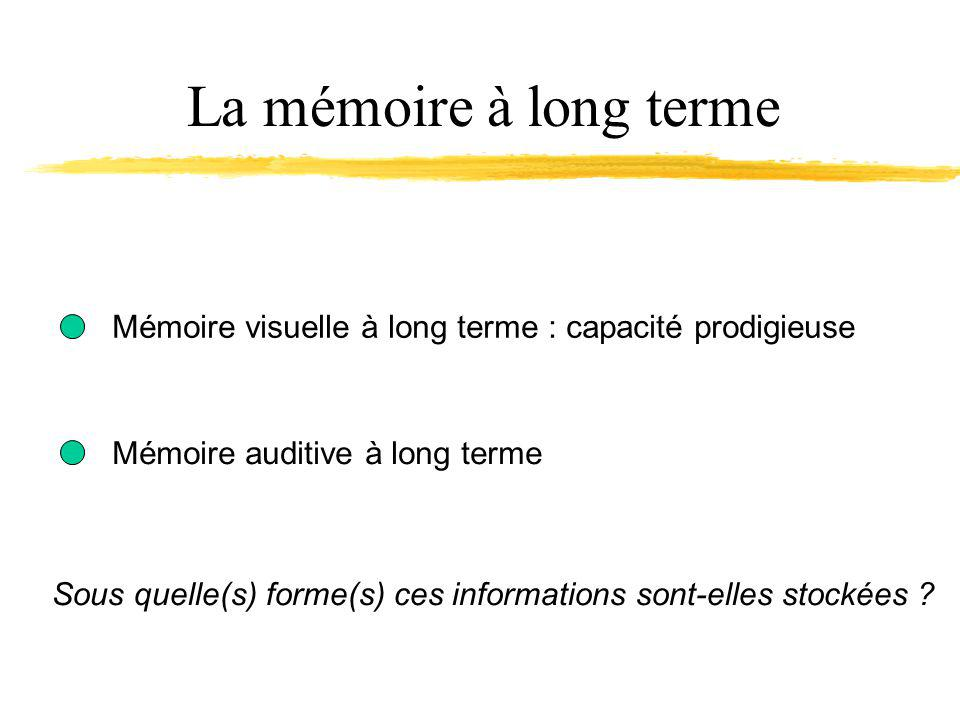 La mémoire à long terme Mémoire visuelle à long terme : capacité prodigieuse. Mémoire auditive à long terme.