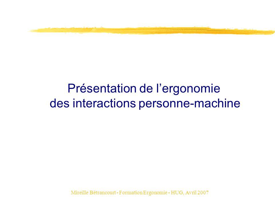 Présentation de l'ergonomie des interactions personne-machine