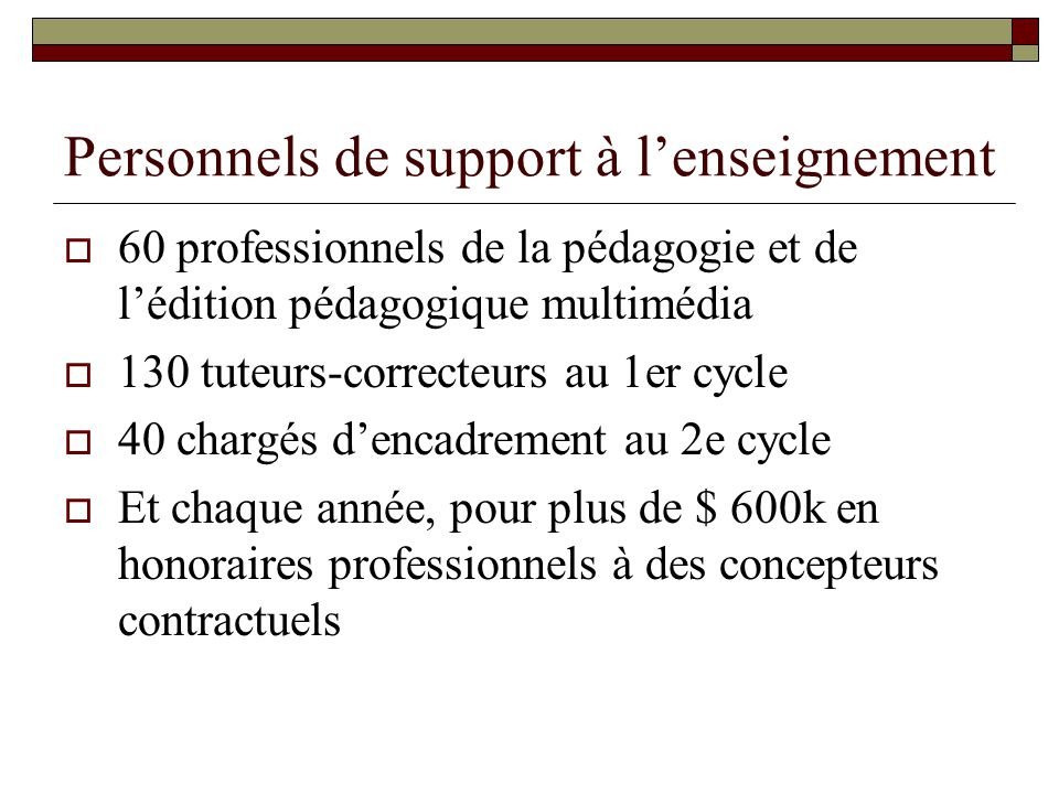 Personnels de support à l'enseignement