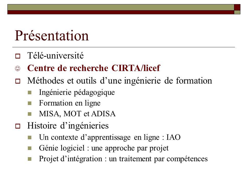 Présentation Télé-université Centre de recherche CIRTA/licef