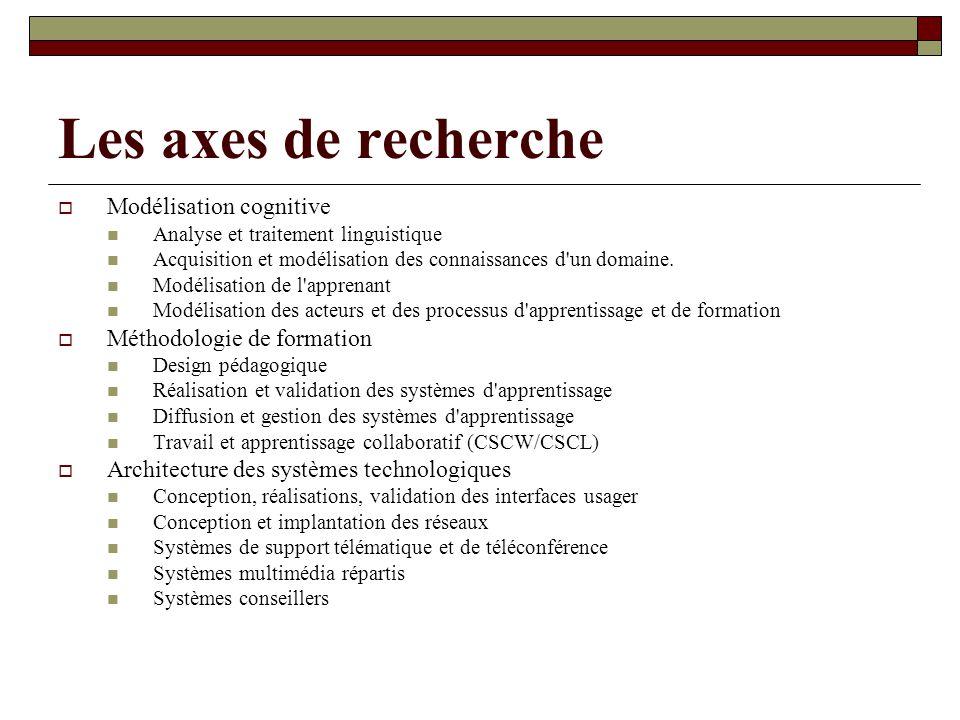 Les axes de recherche Modélisation cognitive Méthodologie de formation