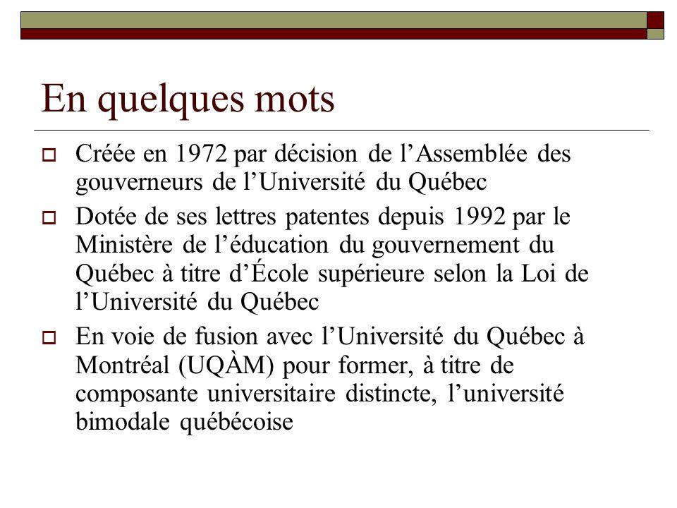 En quelques mots Créée en 1972 par décision de l'Assemblée des gouverneurs de l'Université du Québec.