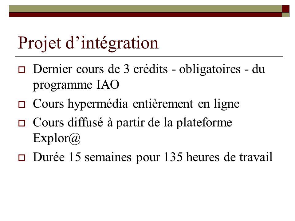 Projet d'intégration Dernier cours de 3 crédits - obligatoires - du programme IAO. Cours hypermédia entièrement en ligne.