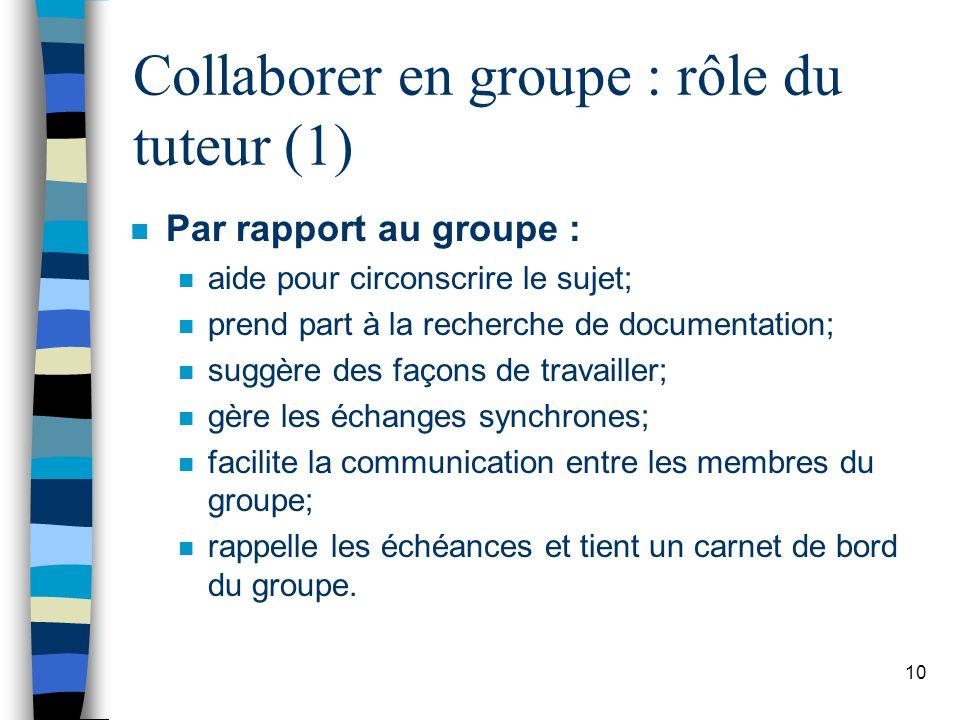 Collaborer en groupe : rôle du tuteur (1)