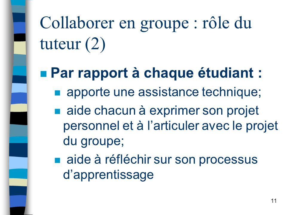 Collaborer en groupe : rôle du tuteur (2)
