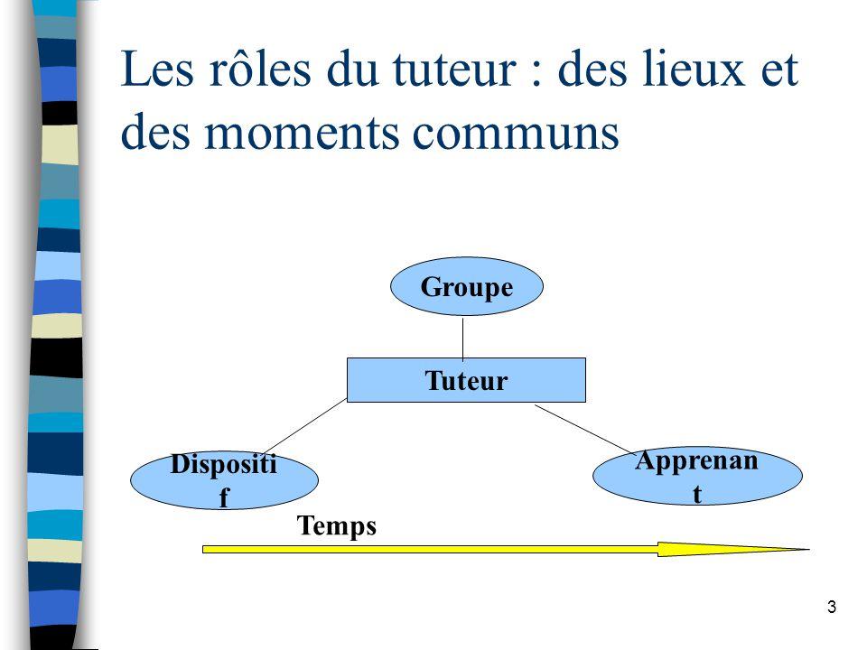 Les rôles du tuteur : des lieux et des moments communs