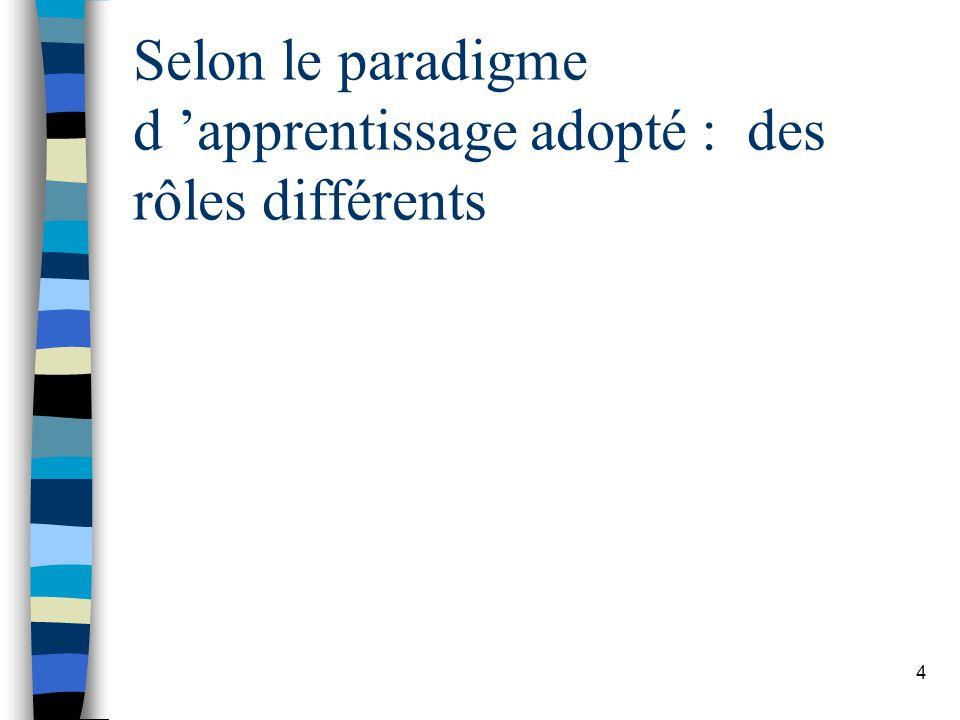 Selon le paradigme d 'apprentissage adopté : des rôles différents