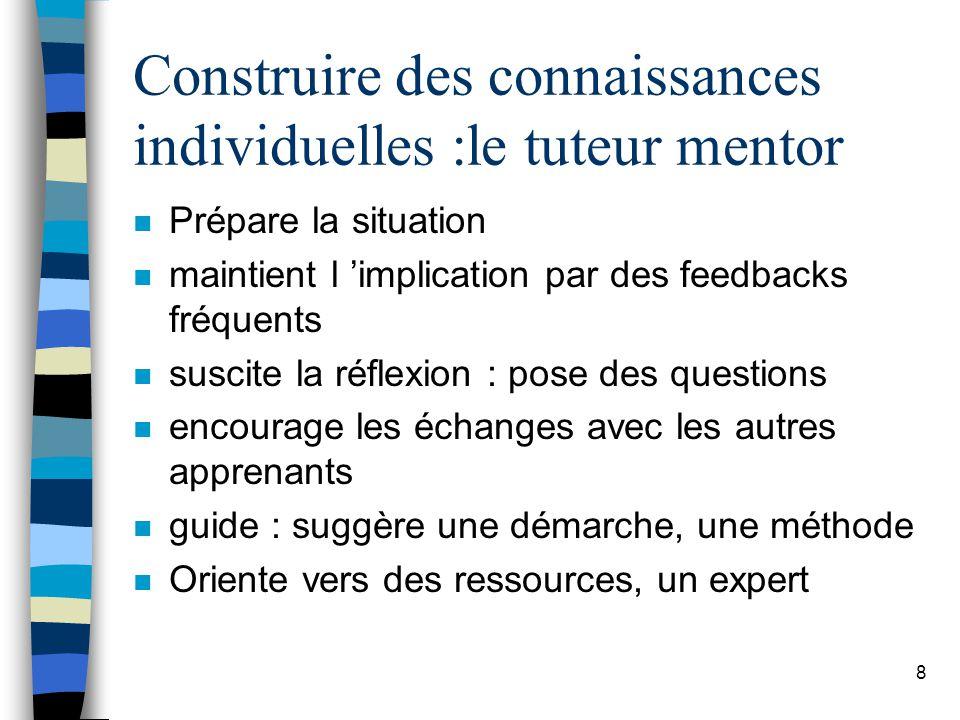 Construire des connaissances individuelles :le tuteur mentor