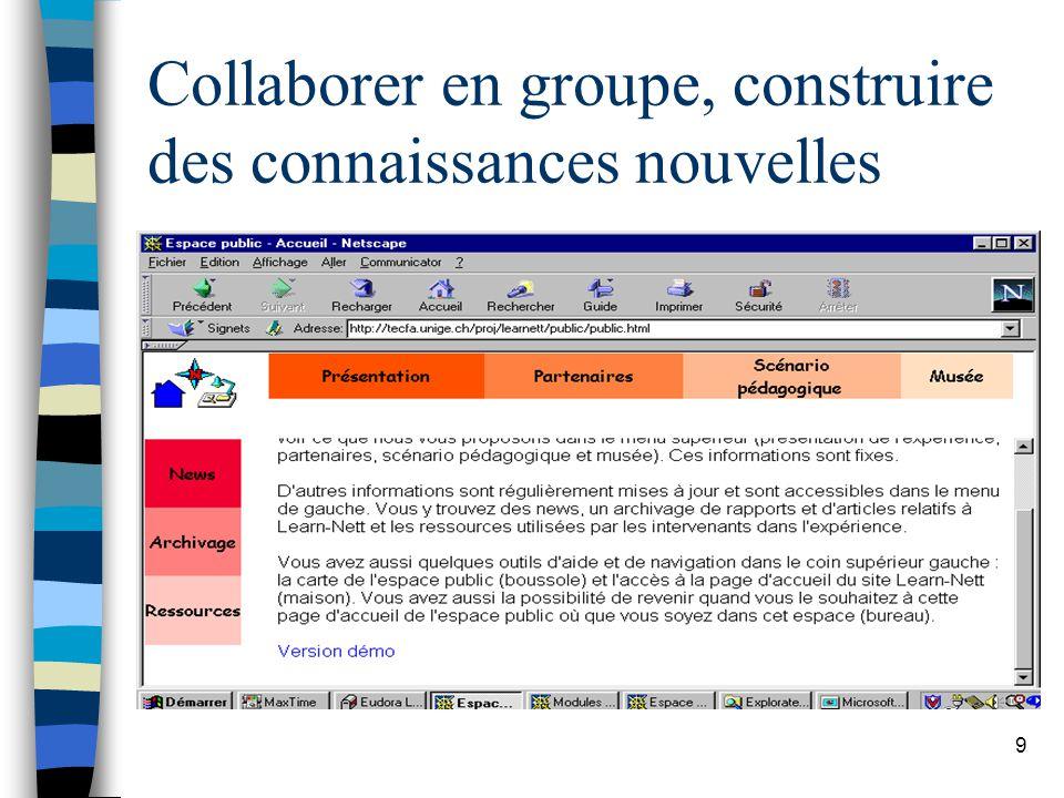 Collaborer en groupe, construire des connaissances nouvelles