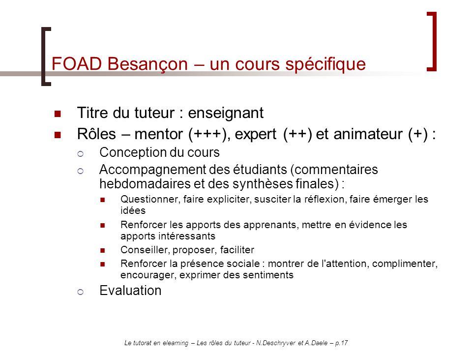 FOAD Besançon – un cours spécifique