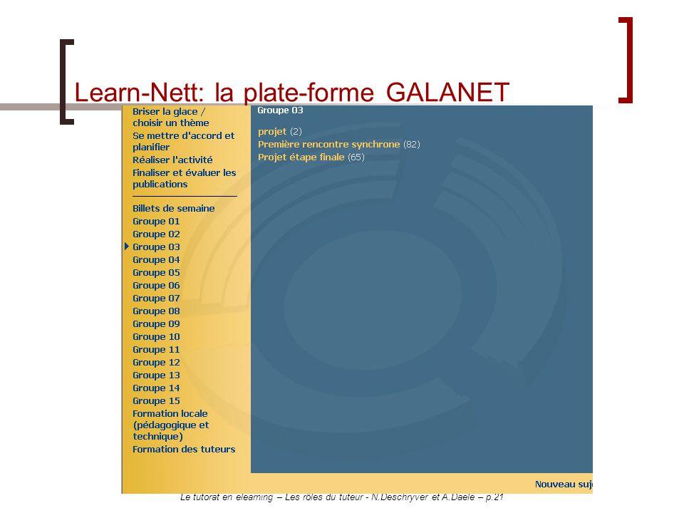 Learn-Nett: la plate-forme GALANET
