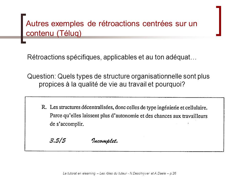 Autres exemples de rétroactions centrées sur un contenu (Téluq)