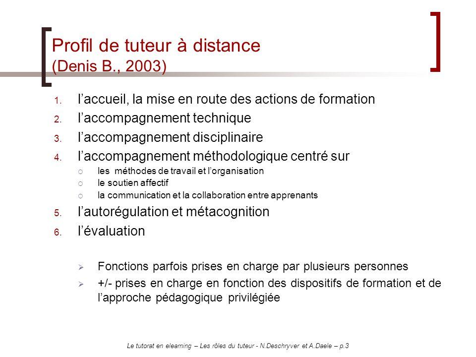 Profil de tuteur à distance (Denis B., 2003)