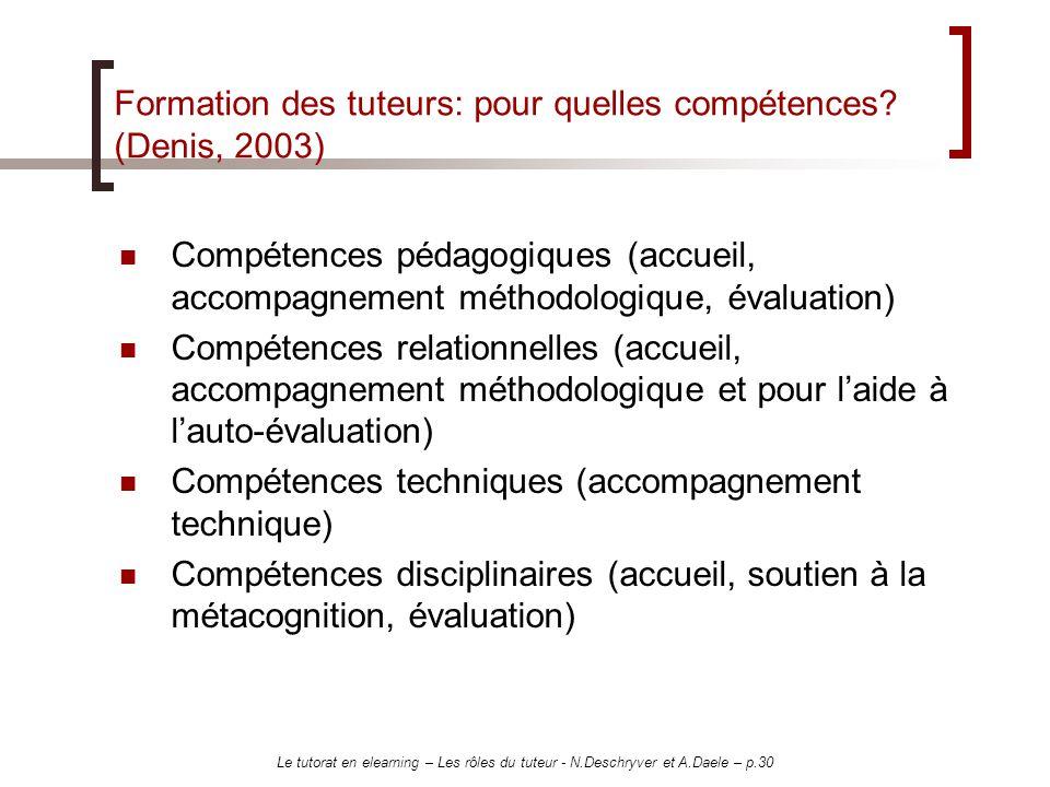 Formation des tuteurs: pour quelles compétences (Denis, 2003)