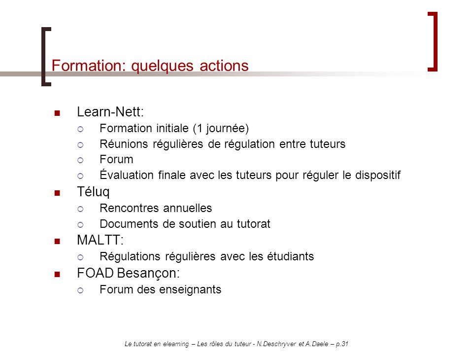 Formation: quelques actions